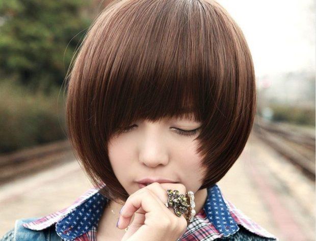 прическа для девочки: паж с асимметричной челкой
