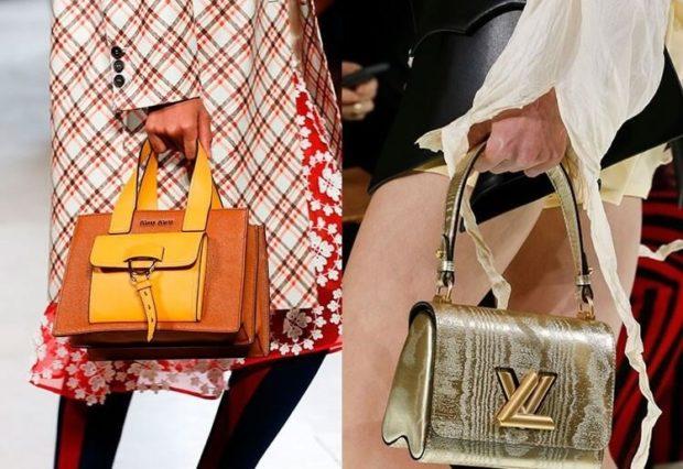 модные сумки весна лето 2020: коричневая с желтым серебро на коротких ручках