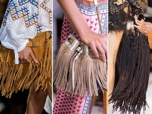 сумки летние коричневая бежевая черная с бахромой