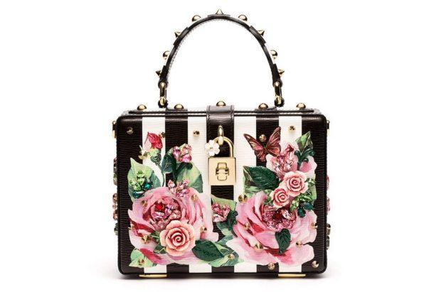 сумка-чемодан летняя в полоску черную с белым с цветами