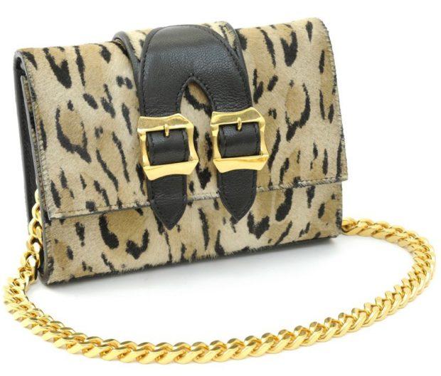 сумка леопард клатч на цепочке
