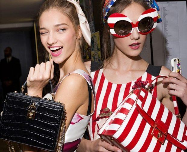 модные сумки весна лето: чемоданчик черная красная в белую полоску