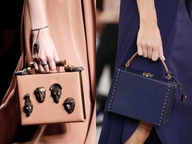 сумки чемоданы беж с декором синяя