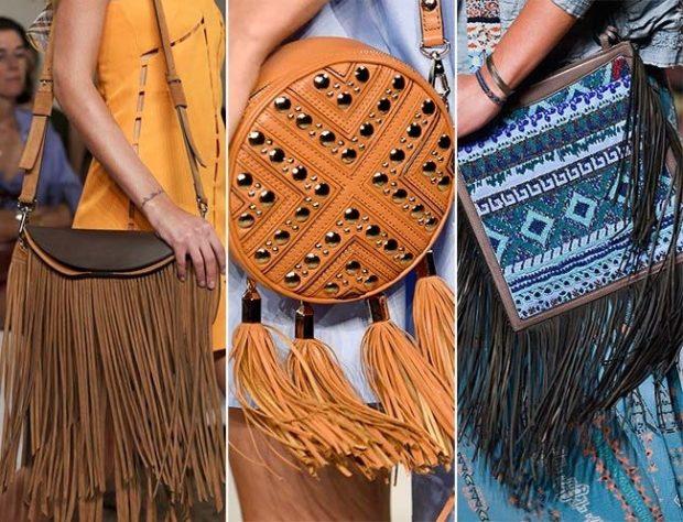 сумки с бахромой коричневая прямоугольная круглая синяя с принтом