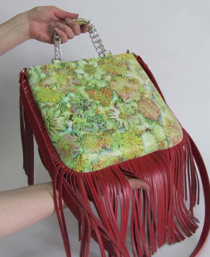 сумки с бахромой зеленая с красной бахромой