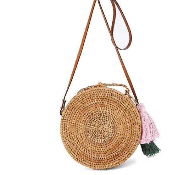 сумка плетеная круглая с кожаным ремнем