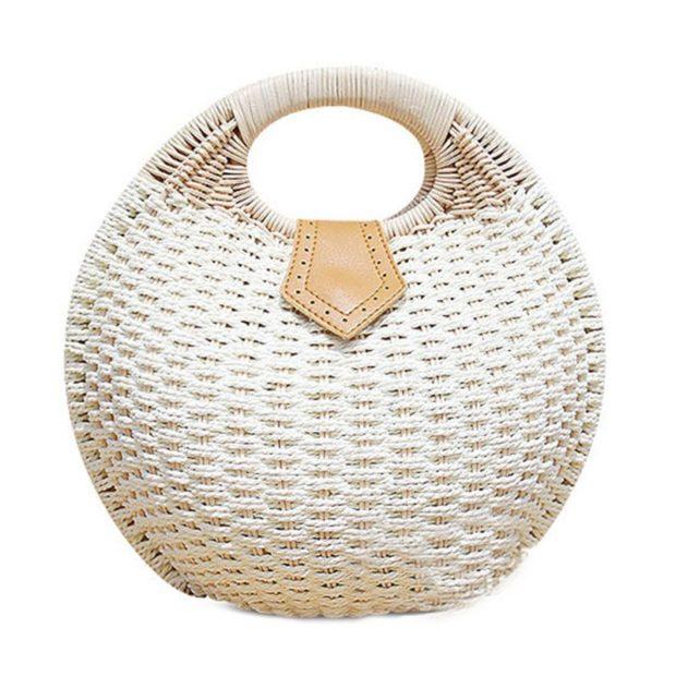 сумка плетеная круглая белая с врезной ручкой