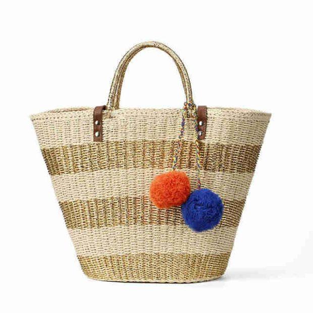 сумка плетеная трапеция полосатая