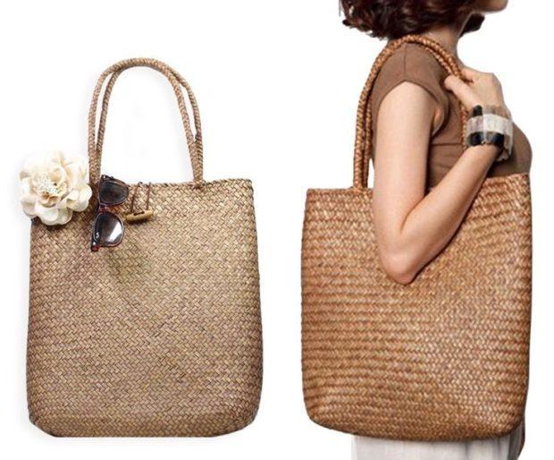 сумка плетеная прямоугольная с цветком коричневая