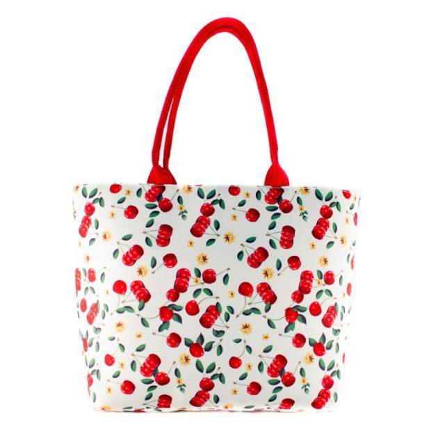 текстильная сумка белая с вишенками