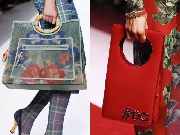 сумки весна лето 2021: объемные ручки внутри