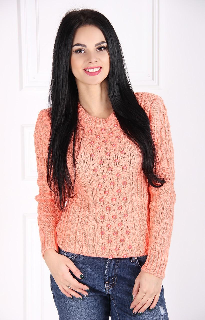вязаный свитер персиковый