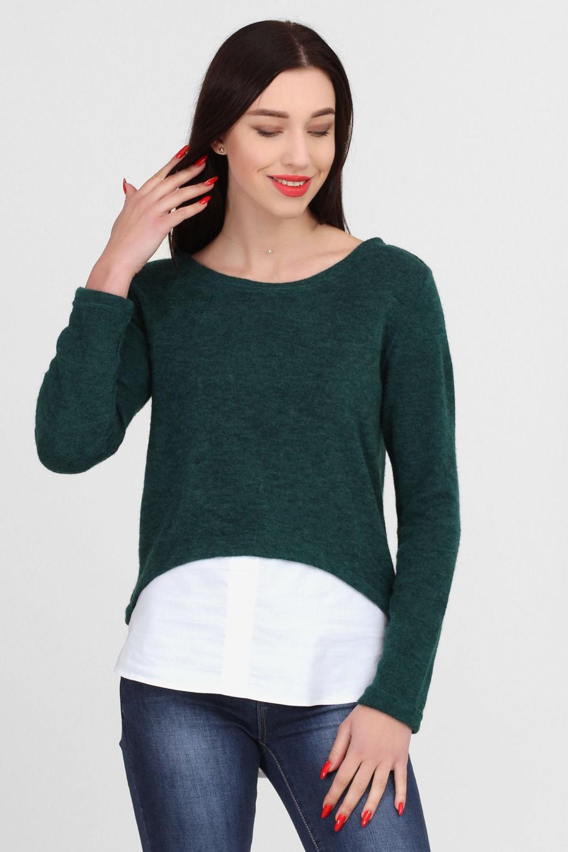 шерстяной свитер зеленый асимметрия