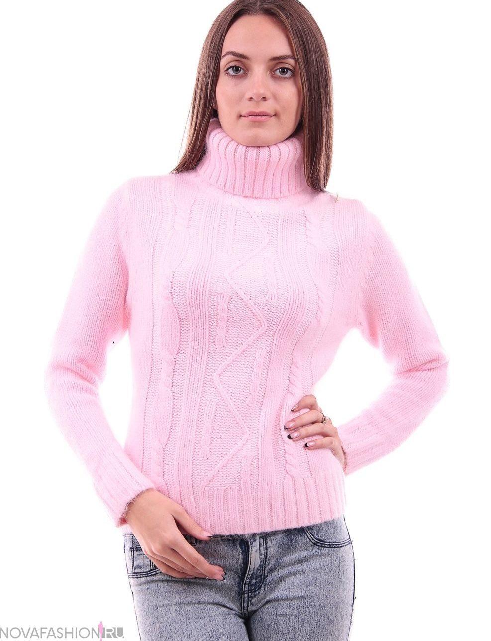 розовый свитер однотонный под горло