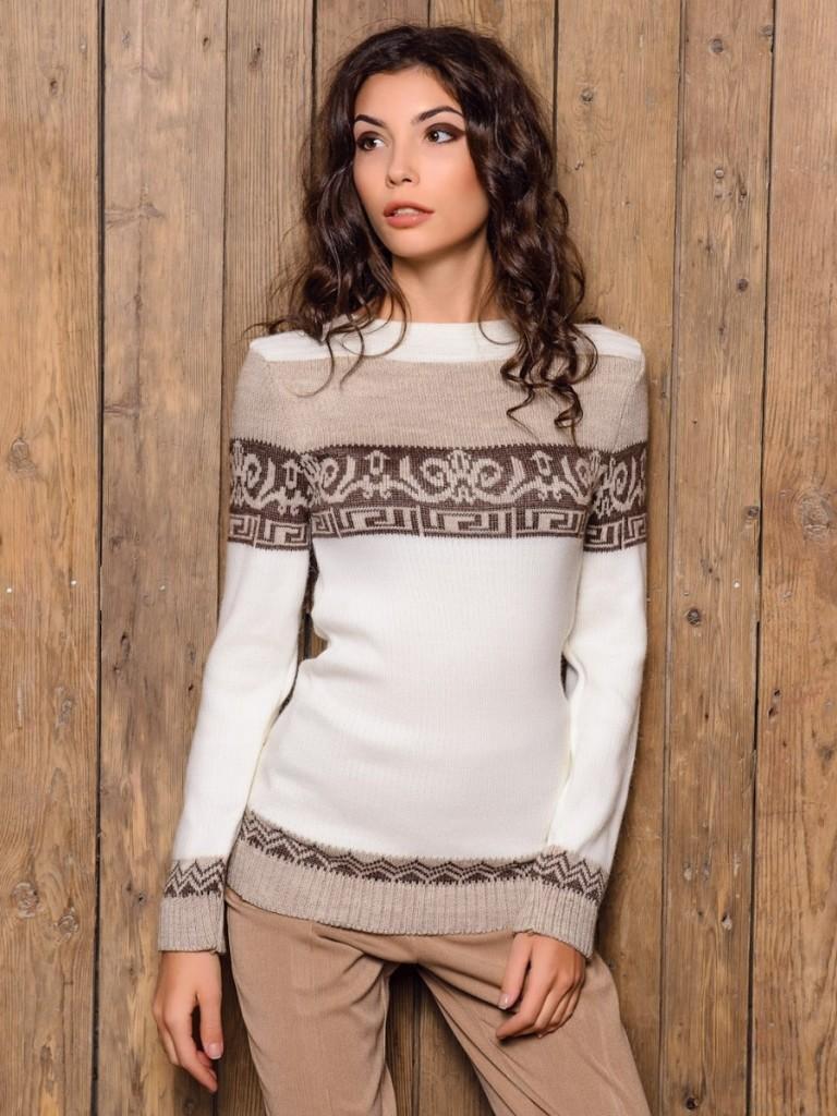 шерстянной свитер белый с узорами бежевыми