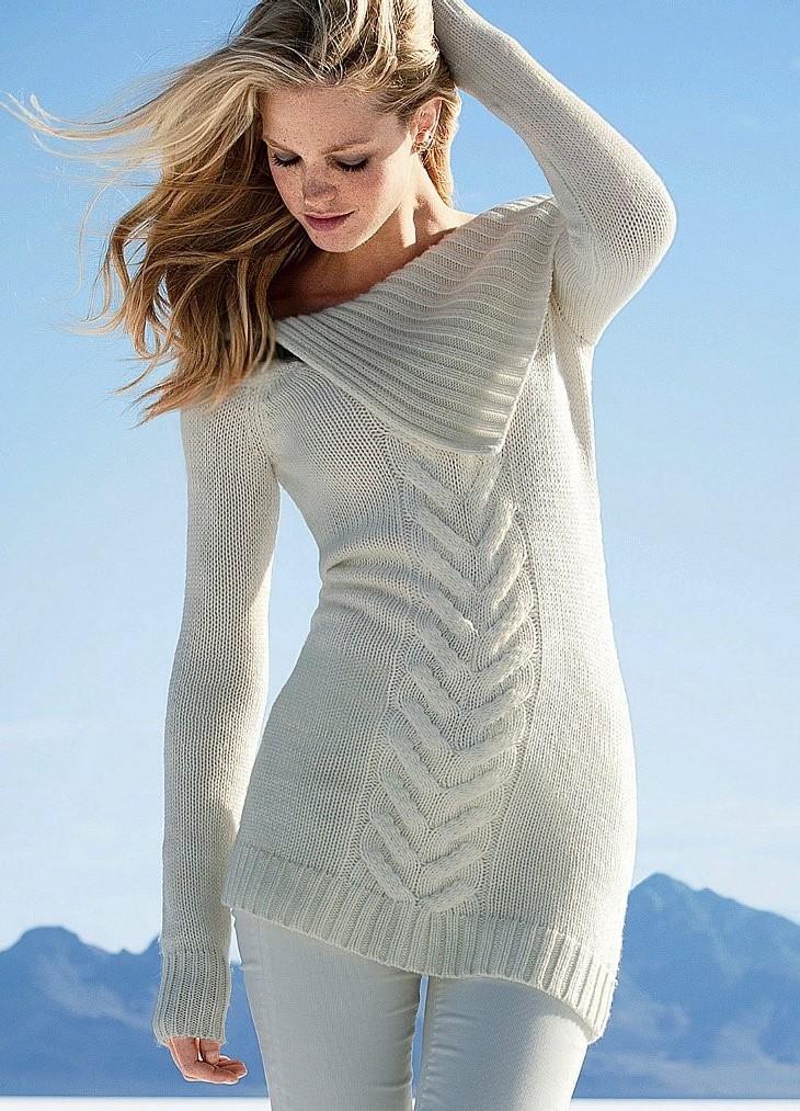 свитер белый интересный ворот вязка с узором