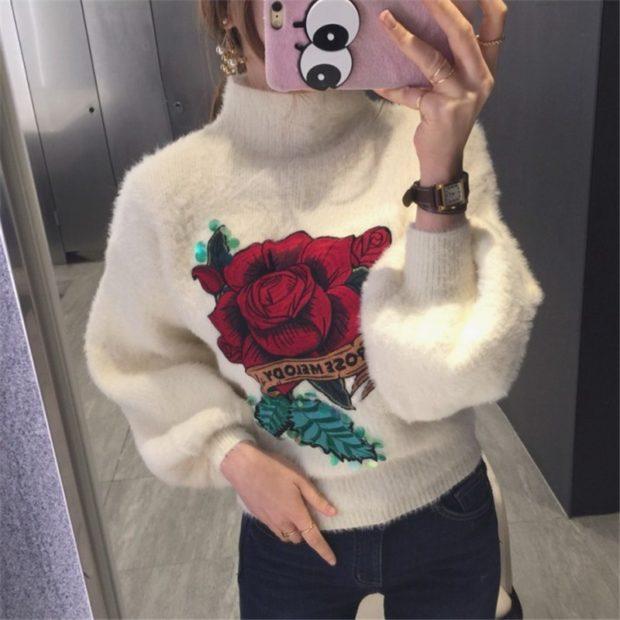 шерстяной белый с розой
