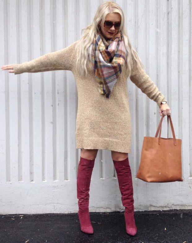 широкий свитер-платье бежевое