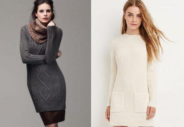 платье свитер серое с узором белое