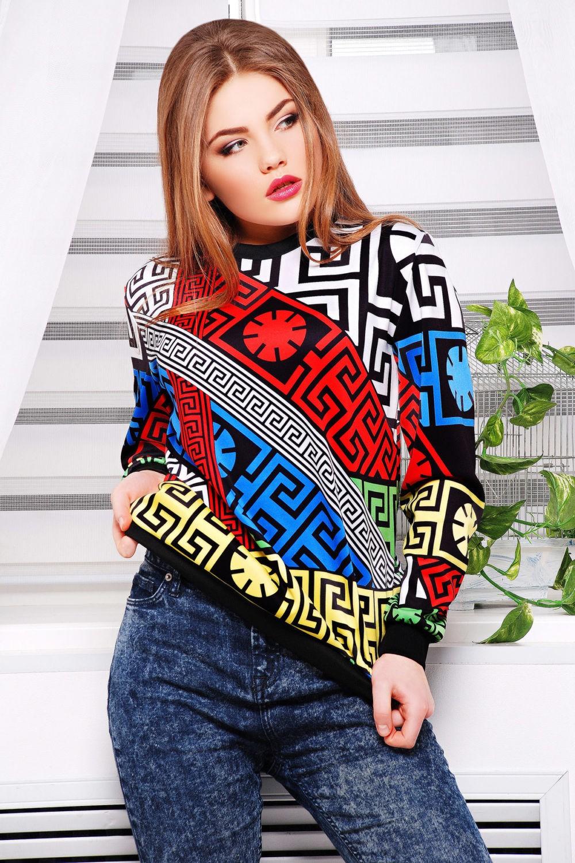 короткий свитер геометрический принт яркий