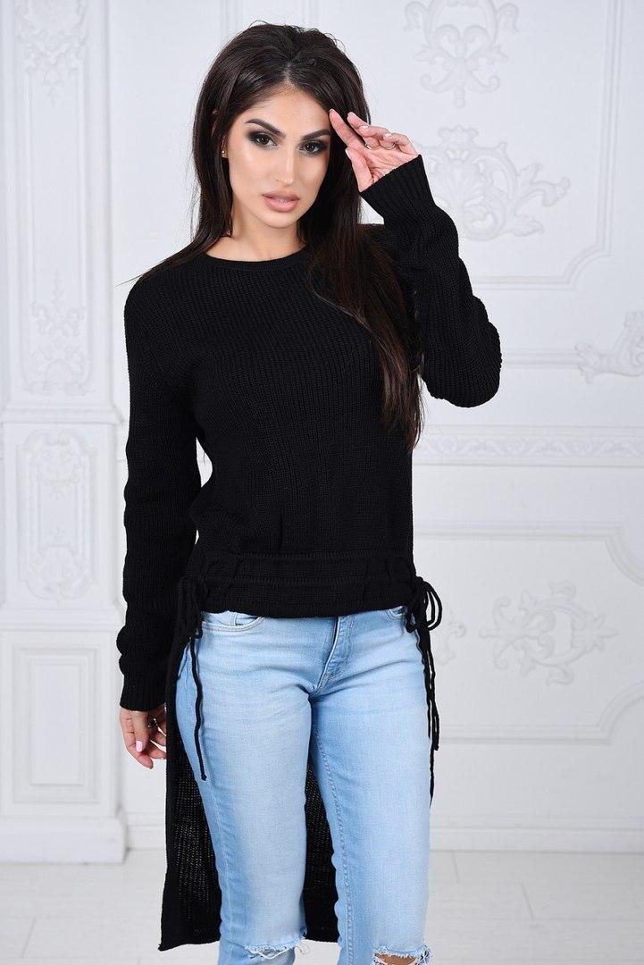 свитер черный асимметрия