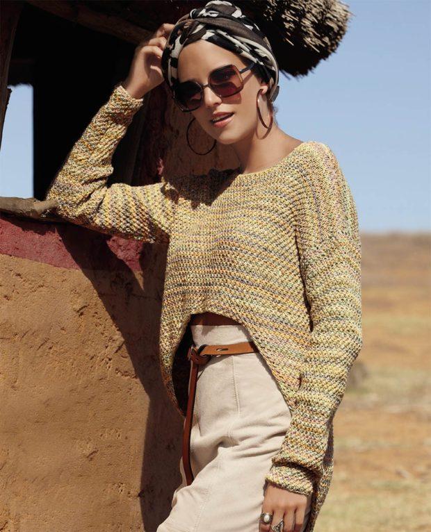 свитер вязаный асимметрия