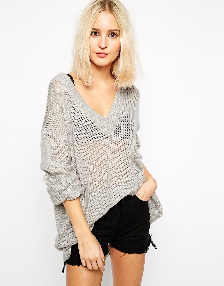 свитер тонкая вязка серый оверсайз