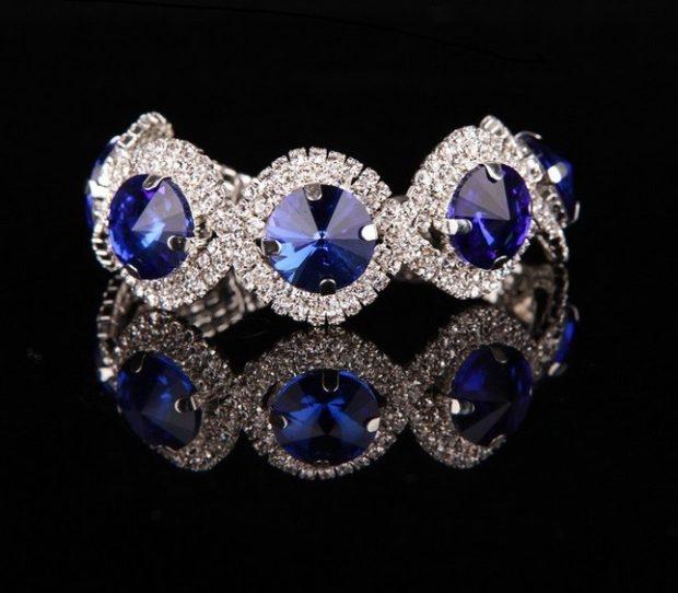 браслет серебро с синим камнем