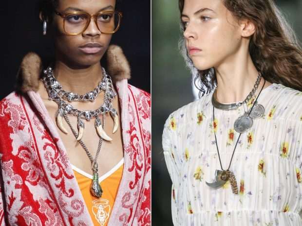 модная бижутерия 2018-2019: колье цепи клыки черепа