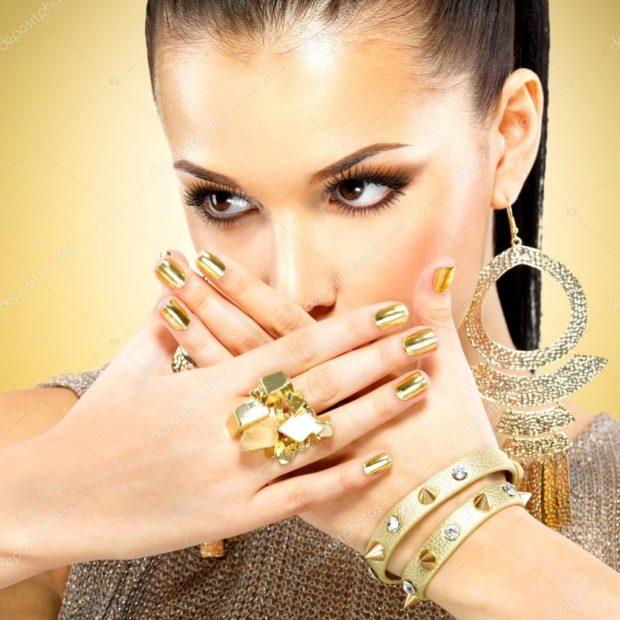 золотое кольцо объемное браслет сережки