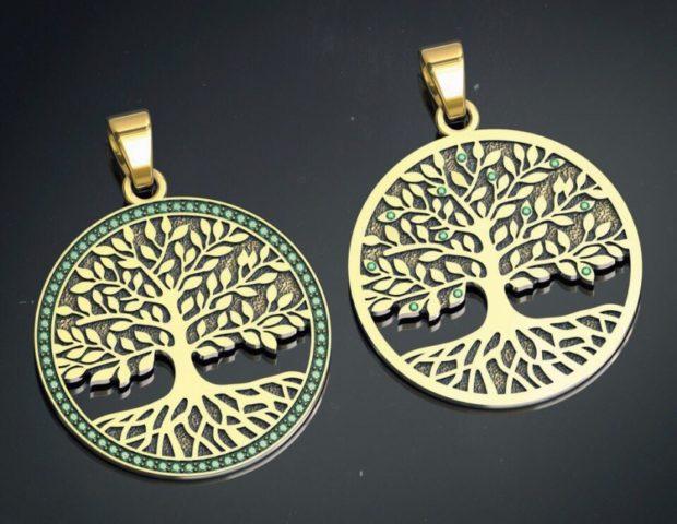 кулон круглый золотой дерево