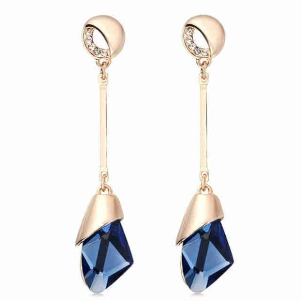 висячие сережки золотые с голубым массивным камнем