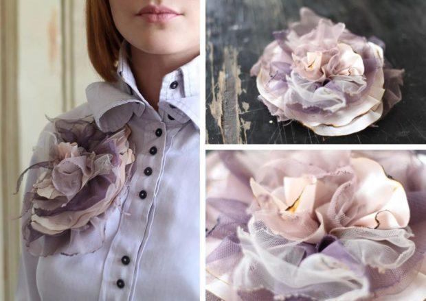 модная бижутерия 2018-2019: брошка в стиле бохо из ткани
