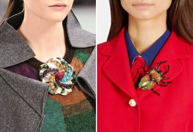 модная бижутерия 2019-2020: брошка из цветных камней большая жук