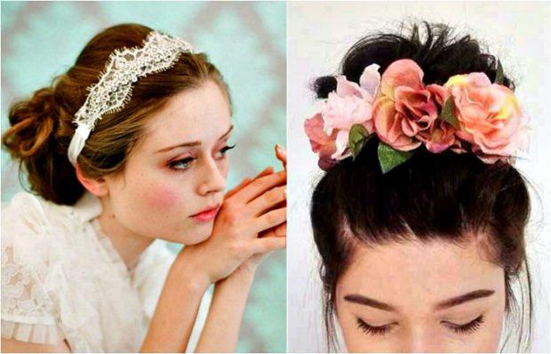 ободок белый на волосы украшение из ярких роз и лепистков
