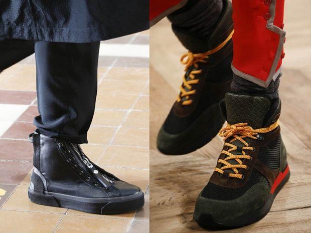 мужская обувь осень зима 2018-2019: кеды зимние черные зелено-коричневые