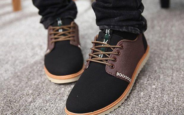 мужская обувь осень зима 2018-2019: туфли черные с коричневым