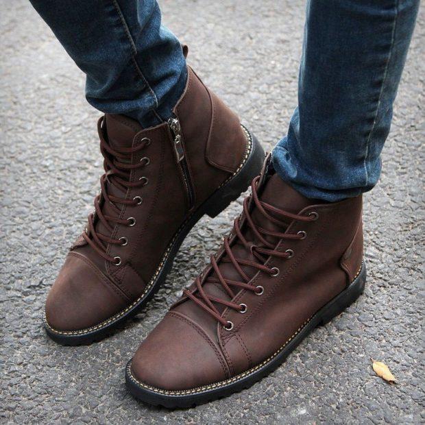 мужская обувь осень зима 2018-2019: ботинки коричневые на шнуровке