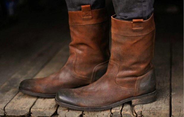 мужская обувь осень зима 2018-2019: ботинки кожаные коричневые без застежек