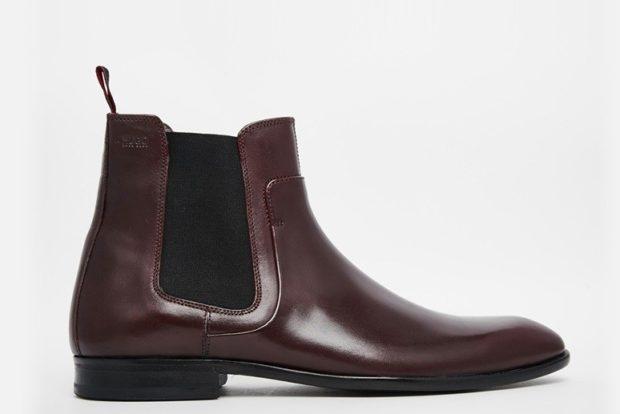 мужская обувь осень зима 2019-2020: ботинки кожаные коричневые со вставкой резинка
