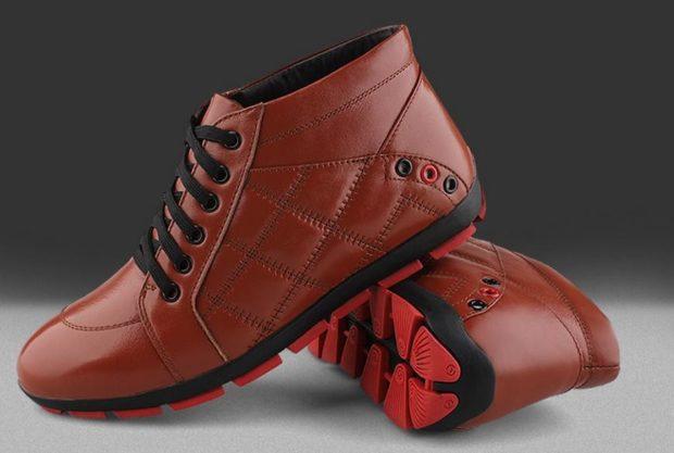 модная мужская обувь осень зима 2019-2020: красные кожаные ботинки стеганые