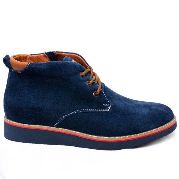 модная мужская обувь осень зима 2018-2019: синие нубуковые ботинки