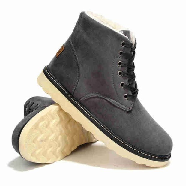 зимняя обувь мужская 2018-2019: ботинки на шнуровке серые с белым мехом