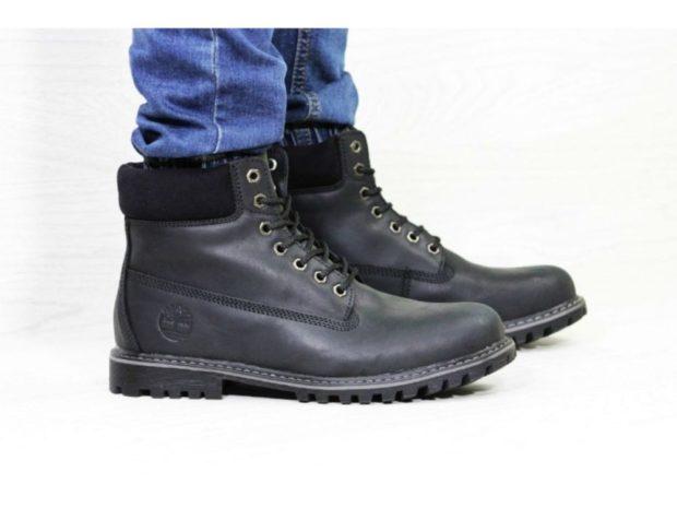 зимняя обувь мужская 2019-2020: ботинки на шнуровке черные с мехом