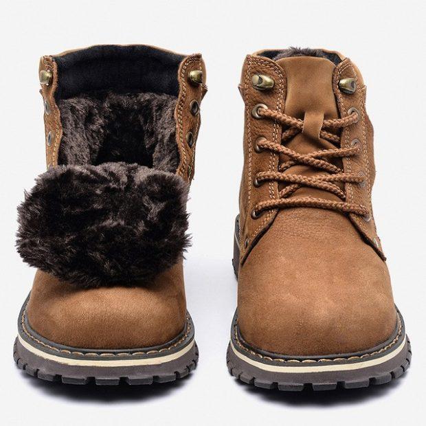 зимняя обувь мужская 2018-2019: ботинки коричневые на шнурках смехом