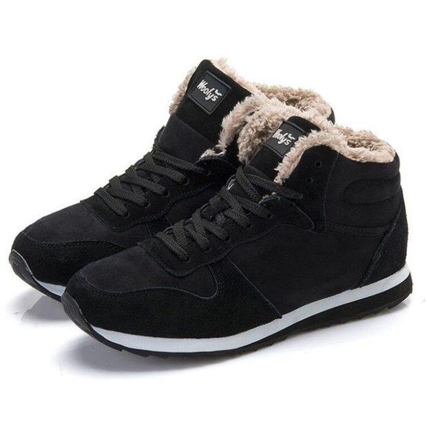 зимняя обувь мужская 2018-2019: кроссовки черные нубук с мехом