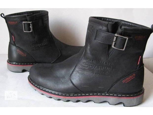 зимняя обувь мужская 2019-2020: кожаные сапоги черные с застежкой