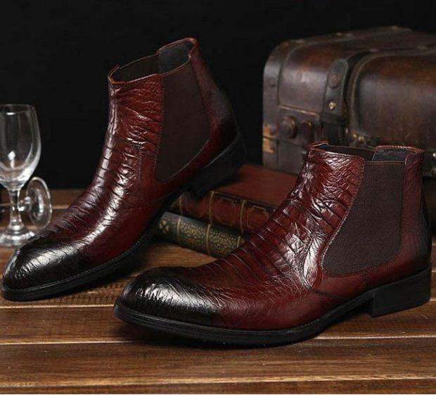 зимняя обувь мужская 2019-2020: мужские ботинки темно-красные крокодилья кожа