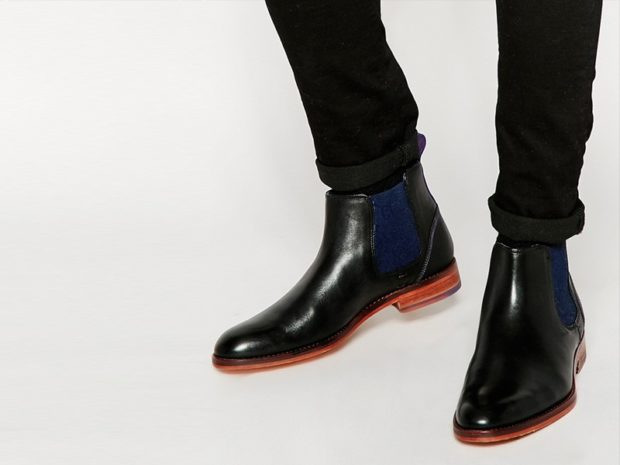зимняя обувь мужская 2018-2019: ботинки-челси черные с синей резинкой