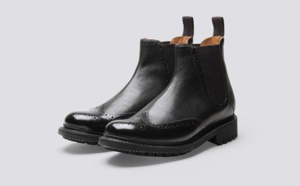 зимняя обувь мужская 2018-2019: ботинки-челси черные носок лаковый